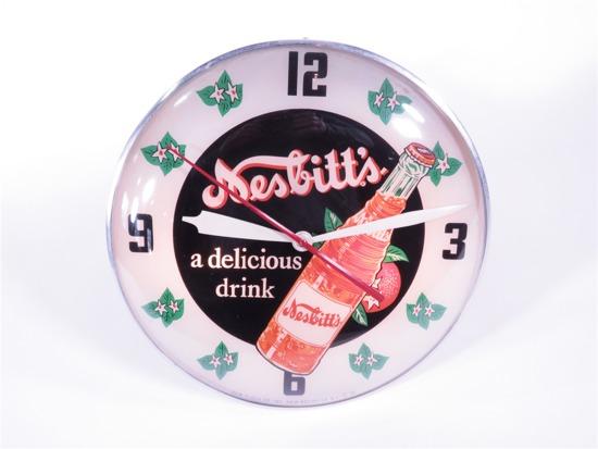 1956 NESBITTS SODA GLASS-FACED LIGHT-UP DINER CLOCK