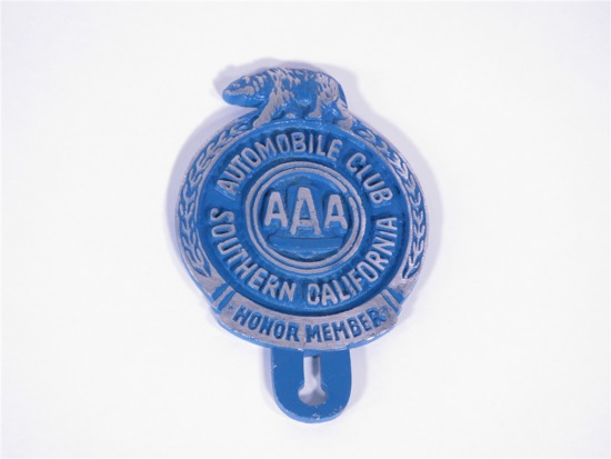 AUTOMOBILE CLUB OF SOUTHERN CALIFORNIA LICENSE PLATE ATTACHMENT SIGN