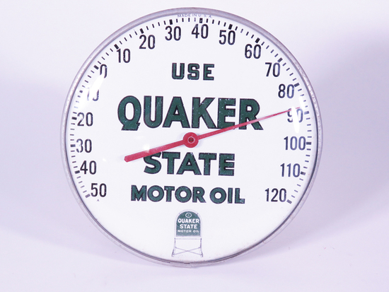 CIRCA EARLY 1960S QUAKER STATE MOTOR OIL DIAL THERMOMETER