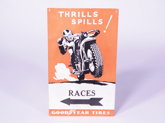 CIRCA 1940S GOODYEAR MOTORCYCLE RACES CARDBOARD POSTER