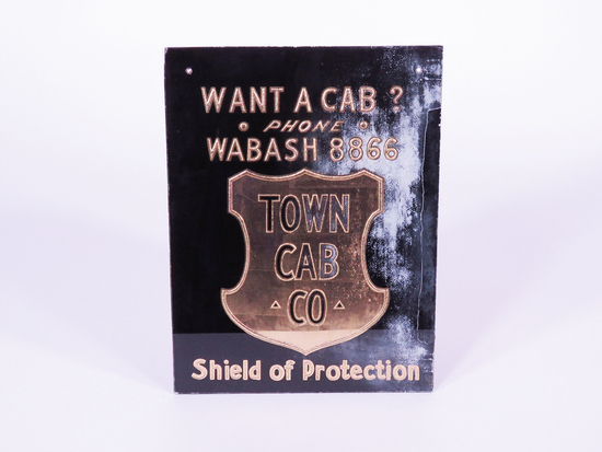 EARLY 1930S TOWN CAB COMPANY GLASS SIGN