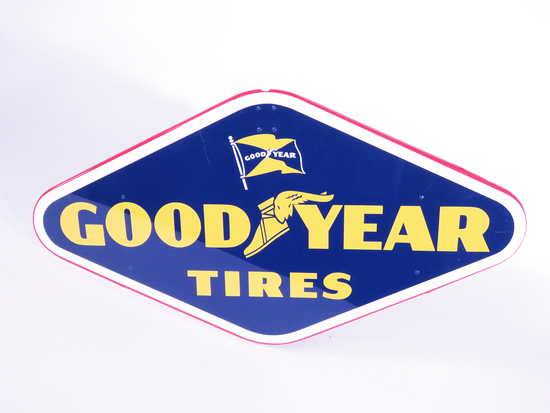 1958 GOODYEAR TIRES TIN METAL TIRE DISPLAY STAND SIGN