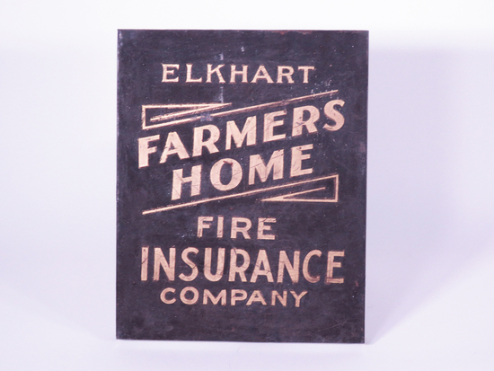 1920S ELKHART FARMERS HOME FIRE INSURANCE COMPANY TIN SIGN