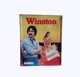 LATE 1970S WINSTON CIGARETTES SELF-FRAMED TIN SIGN