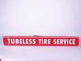 1960 FIRESTONE TUBELESS TIRES SERVICE TIN SIGN