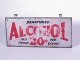 1920S-30S DENATURED ALCOHOL TIN-PAINTED SIGN