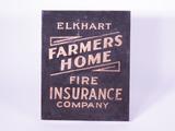 1920S ELKHART FARMERS HOME FIRE INSURANCE COMPANY TIN SIGN