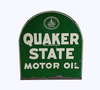 VINTAGE QUAKER STATE MOTOR OIL DOUBLE-SIDED TIN SIGN