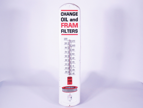CIRCA EARLY 1960S FRAM FILTERS OVERSIZED TIN THERMOMETER