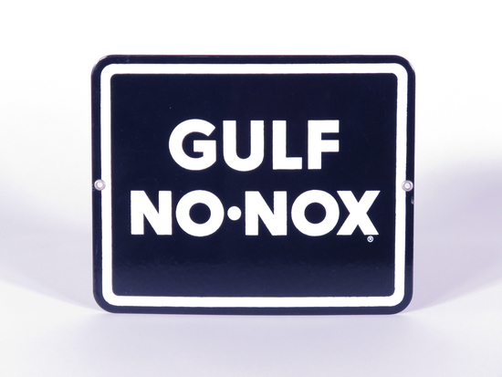 EARLY 1960S GULF NO-NOX GASOLINE PORCELAIN PUMP PLATE SIGN