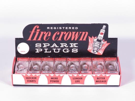 LATE 1950S-EARLY 60S FIRE CROWN SPARK PLUGS COUNTERTOP DISPLAY BOX