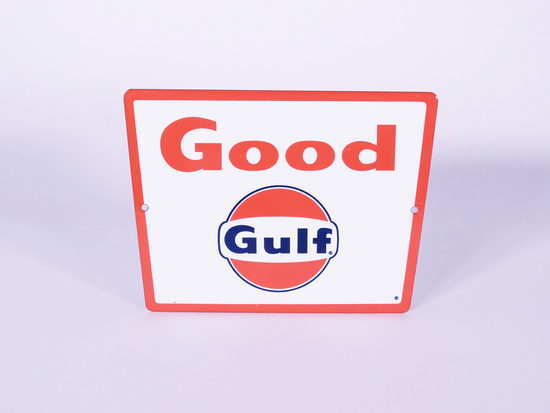 LATE 1950S-EARLY 60S GULF OIL GASOLINE PORCELAIN PUMP PLATE SIGN