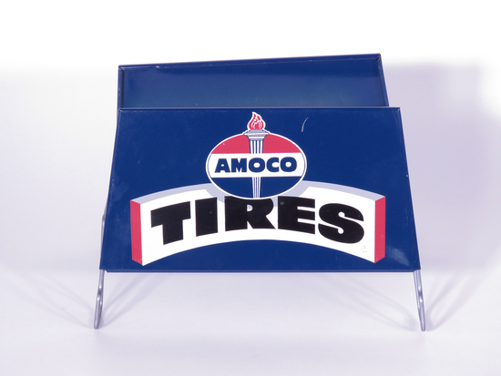 1950S AMOCO TIRES METAL TIRE DISPLAY STAND SIGN