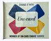 1960S UNI-CARD CHARGE CARDS DOUBLE-SIDED TIN FLANGE SIGN