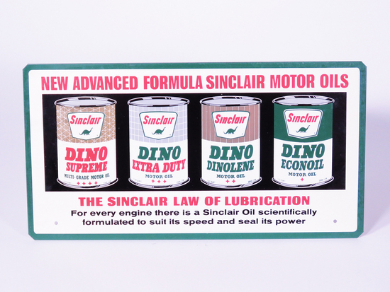 1960S SINCLAIR MOTOR OIL TIN FUEL ISLAND SIGN