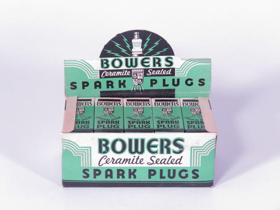 1930S BOWERS SPARK PLUGS COUNTERTOP DISPLAY BOX