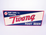 CIRCA LATE 1940S-EARLY 50S TWANG ROOT BEER TIN SIGN