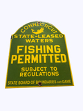 1930S CONNECTICUT FISHING PERMITTED PORCELAIN SIGN