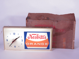 LATE 1960S-EARLY 70S NESBITTS ORANGE SODA LIGHT-UP SIGN WITH CLOCK