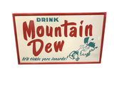 1964 MOUNTAIN DEW SELF-FRAMED TIN SIGN