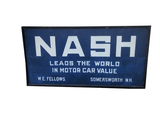 1920S SMALTZ-PAINTED NASH AUTOMOBILES TIN WOOD-FRAMED SIGN