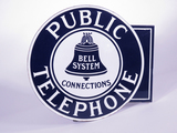 1930S BELL SYSTEM PUBLIC TELEPHONE DOUBLE-SIDED PORCELAIN FLANGE SIGN