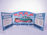 1940S MOBIL OIL RADIATOR AND LUBE SERVICE TRI-FOLD CARDBOARD DISPLAY