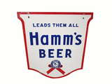 LARGE CIRCA 1940S HAMMS BEER DOUBLE-SIDED PORCELAIN SIGN