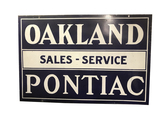 1930S OAKLAND-PONTIAC SERVICE DOUBLE-SIDED PORCELAIN SIGN