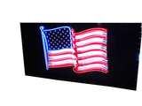 CIRCA 1950S PORCELAIN FLAG SIGN WITH ANIMATED NEON