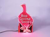 1930S ALL-ORIGINAL RED GOOSE SHOES NEON PORCELAIN COUNTERTOP SIGN