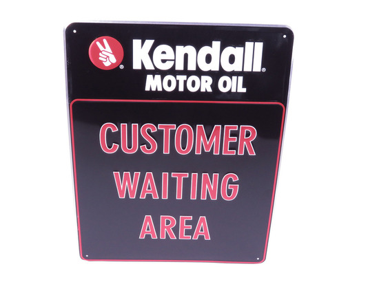 KENDALL MOTOR OIL CUSTOMER WAITING AREA EMBOSSED TIN SIGN