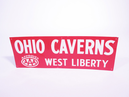 1950S AAA OHIO CAVERNS EMBOSSED TIN SIGN