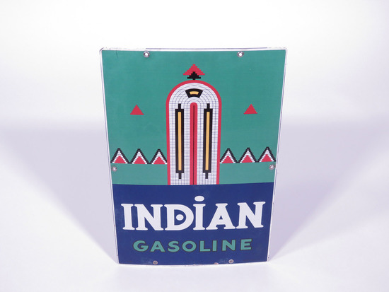 1940 TEXACO INDIAN GASOLINE PORCELAIN PUMP PLATE SIGN