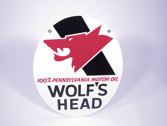 1971 WOLFS HEAD MOTOR OIL TIN SIGN