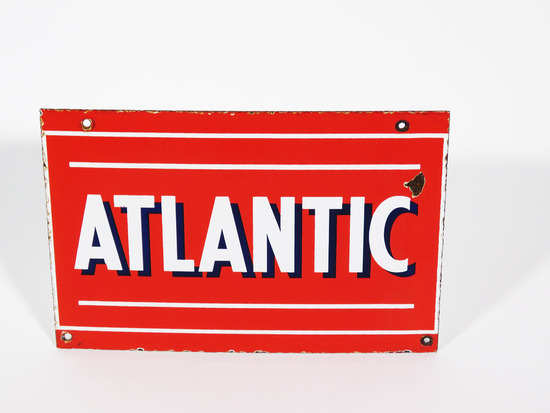 1940S-50S ATLANTIC GASOLINE PORCELAIN PUMP PLATE SIGN