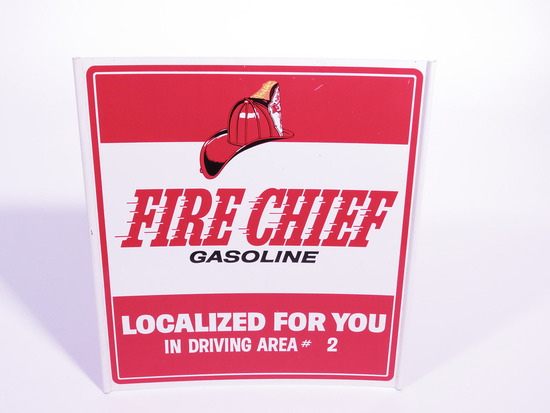 EARLY 1960S TEXACO FIRE CHIEF GASOLINE TIN SIGN