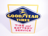1954 GOODYEAR TIRES EMBOSSED TIN SIGN