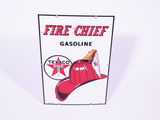 1961 TEXACO FIRE CHIEF GASOLINE PORCELAIN PUMP PLATE SIGN