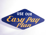 EARLY 1950S GOODYEAR TIRES USE OUR EASY PAY PLAN PORCELAIN SIGN