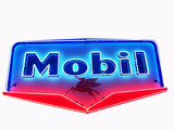 LARGE 1950S MOBIL OIL PORCELAIN WITH NEON SIGN