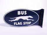 1940S-50S GREYHOUND BUS LINES FLAG STOP TIN SIGN