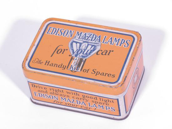 1920S EDISON MAZDA AUTO LAMPS TIN SPARE LAMP KIT