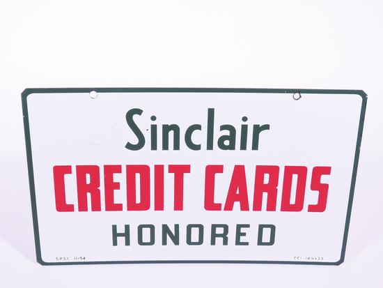 1954 SINCLAIR CREDIT CARDS PORCELAIN SIGN