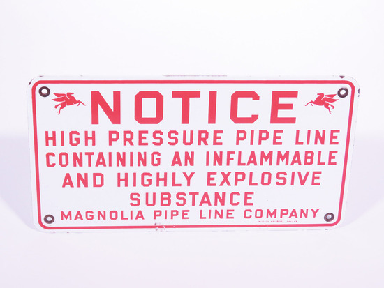 1950S MOBIL OIL MAGNOLIA PIPELINE PORCELAIN NOTICE SIGN