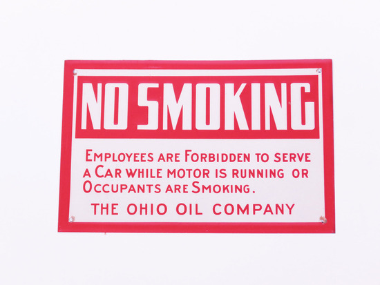 1930S OHIO OIL COMPANY NO SMOKING EMBOSSED TIN SIGN