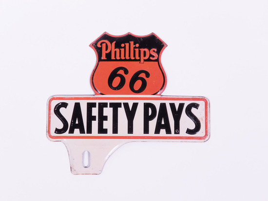 CIRCA 1930S PHILLIPS 66 TIN LICENSE PLATE SIGN