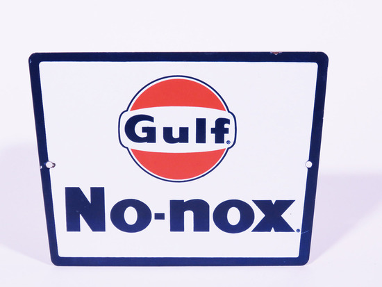 LATE 1950S GULF NO-NOX PORCELAIN PUMP PLATE SIGN