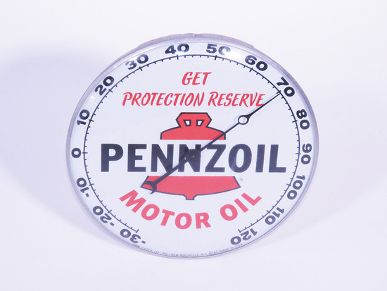 1962 PENNZOIL MOTOR OIL GLASS-FACED DIAL THERMOMETER