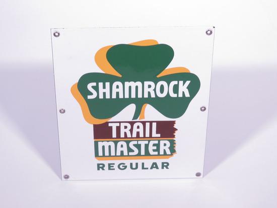 1950S SHAMROCK TRAIL MASTER REGULAR GASOLINE PORCELAIN PUMP PLATE SIGN